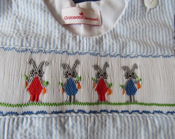 Hand smocked Easter Bunnies with carrots