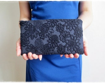 Navy blue clutch purse, Lace clutch purse, lace embroidered fabric clutch, evening purse
