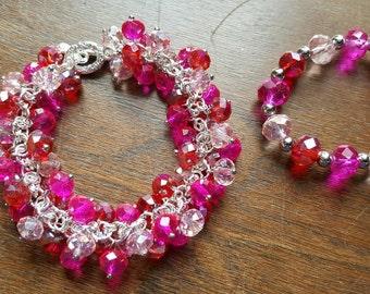 Valentine Mother Daughter Beaded Bracelets