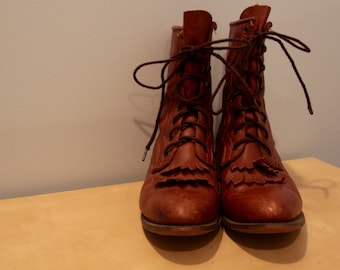 Vintage Women's Leather Lace Up Boots- Riding Style/Roper, size 8.5