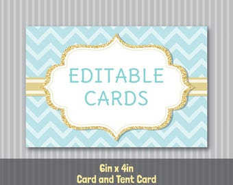 Editable PDF Printable - Mint Aqua Chevron and Gold - Card / Tent Card / Place Card - 4in x 6in - DIY