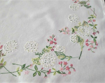 Pink and White Floral Embroidered Tablecloth