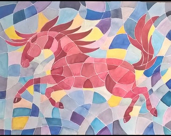 """Watercolor Horse Painting Red Abstract Horse 22""""x30"""" Lovely Large and Colorful!"""