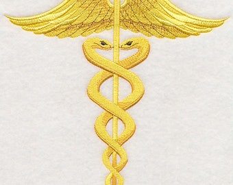 Caduceus Embroidered on Made-to-Order Pillow Cover