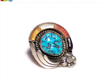 SALE - 50% Off Original Price.   Native American, Navajo Sterling Silver Turquoise Ring Signed RAO, Size 8