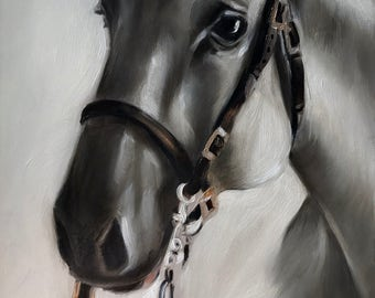 "PRINT of original oil painting Equestrian Equine Horse ""White Shadow"" / Mary Sparrow of Hanging the Moon Studio"