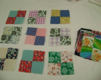 LOT of 36 Hand Sewn Quilt Blocks, 1940's