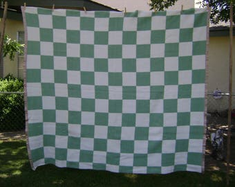 Wool Blanket, Vintage, Very good condition, 76 x 66, Nile Green and White Checks
