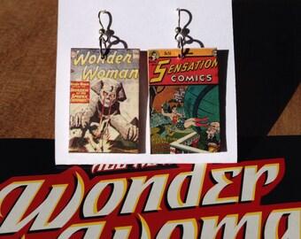 Wonder Woman mini comic earrings