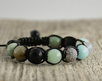 Black and mint shamballa bracelet. Yoga jewelry