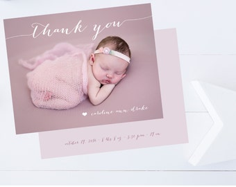 Newborn Baby Thank You Cards, Twins, Triplets Thank You Cards, Baby Shower Thank You Cards // Boy or Girl // Flat  // Set of 25