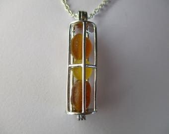 GENUINE SEA GLASS Necklace Sterling Silver Locket Amber Golden Yellow Beach Found Beads Surf Tumbled Natural Seaglass Pendant Jewelry N 737a