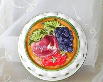 May Sale Decorative Strawberries, Peach and Grapes, Ceramic Mold, Wall Decor, Red, Burgundy,Green, Purple, Wall Plaque, Vintage