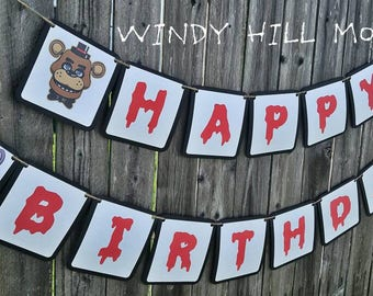 FNAF Five Nights at Freddy's Happy Birthday Banner Party Decoration