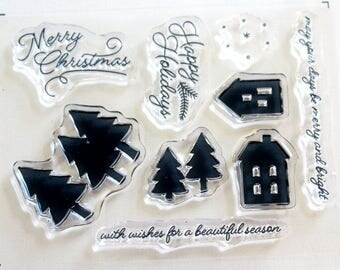 Merry Christmas/Happy Holidays Rubber Stamp Set from Stampin Up Paper Pumpkin