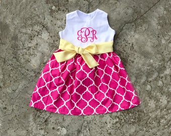 Baby girl easter dress, toddler girl clothes, pink and yellow, free monogram baby girl outfit, easter dresses for little girls