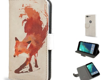 Google Pixel Leather Wallet Case - Limited Edition Cover made using vegan leather - Vulpes, red abstract fox