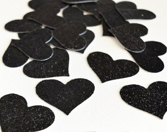 Black Glitter Hearts - Glitter Wedding Decor- Black Hearts Confetti - Glitter Party Decor - Hearts Table Scatter - Confetti Hearts
