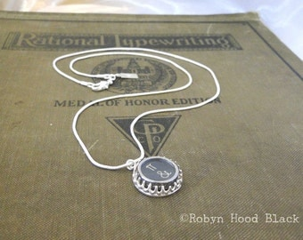 Typewriter Key Necklace Pi and Ampersand Key Sterling Silver