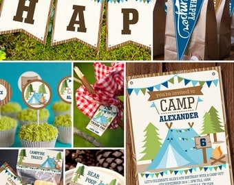 Boys Camping Party Full Printable Set - Camp Out Party - Camping Party Decor - Instant Download and Edit File at home with Adobe Reader