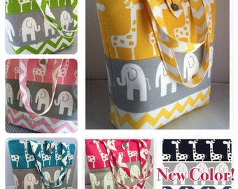 Large Modern Diaper Bag/Tote...Ele Elephants with Stretch Giraffes and Chevron...Choose Your Colors...Can Be Personalized...Shower Chic