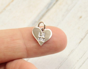 Sterling Silver Lil Sis Heart Charm -- 1 piece