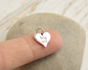 Sterling Silver Big Sis Heart Charm -- 1 piece