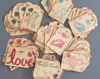Vintage Style Mixed Baby Shower Tags Gift Tags Party Tags Distressed Tags Rustic Thankyou Tags