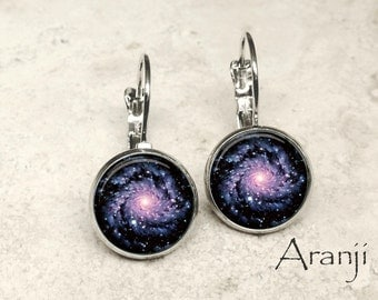 Glass dome spiral galaxy earrings, spiral galaxy earrings, galaxy earrings, galaxy drop earrings SP116LB