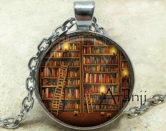 Book pendant, book necklace, book jewelry, library necklace, bookshelf pendant, gift for bookworm Pendant#HG231P