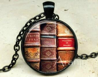 Book art pendant, book necklace, book jewelry, books, library necklace, library pendant, bookshelf necklace, Pendant#HG170BK