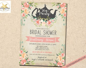 Tea Party Bridal Shower Invitation | Teapot, Watercolor, Flower, Shabby Chic Printable Invitation _1298