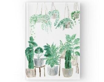 Plant Journal, hardcover journal, plant notebook, cactus journal, cactus notebook, plant lover gift, garden journal, garden notebook