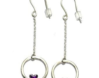 Valentine heart pendant purple earrings. Sterling silver.