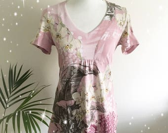Pink orchid floral top