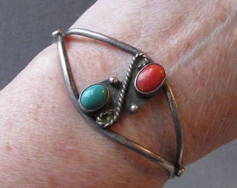 1960's Vintage Native American Navajo Sterling Silver, Turquoise & Coral Cuff Bracelet
