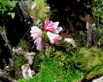 "Flower MOSS SPRITE Fairy ""Lady Primrose"" - Hand Sculpted Figurine - OOAK - Beautiful!!"