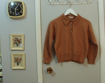 1950s wool mauve brown button up sweater