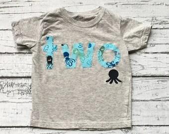 Two//Second Birthday// Ocean//Octopus//Beach//Boy//Shirt//Photo Prop//Birthday Shirt//Ready To Ship