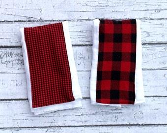 Buffalo Plaid Burp Cloth Set, Lumberjack - Woodland Theme Baby Shower Gift, Set Of Two,Baby Boy, Baby Girl, 2 Premium Burp Cloths
