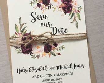 Rustic Marsala Wedding Save the Date, Boho Chic Save the date card, Save our Date, Floral, Watercolour, Rustic, Vintage, Kraft, Modern
