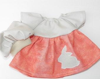"bitty baby clothes, 15"" girl or twin doll, peach khaki, bunny rabbit, easter, dress, tam hat, handmade adorabledolldesigns, optional pants"
