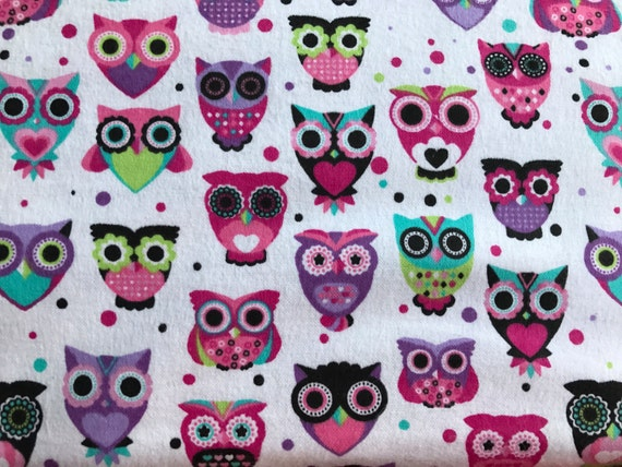 Flannel pretty pink owls fabric pink and white owl fabric for Girly dinosaur fabric