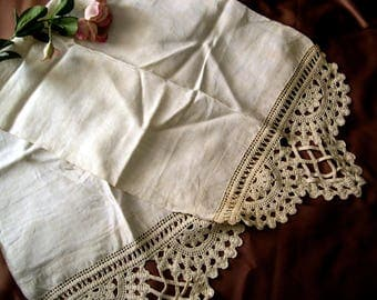 Antique Linen Table Runner with Crochet Ends 58 x 17 Old Vintage Shabby Dresser Scarf Natural