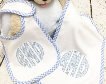 Monogrammed Boys Bib and Burp Set, Personalized bib and burp set, Monogrammed bib, Gingham bib