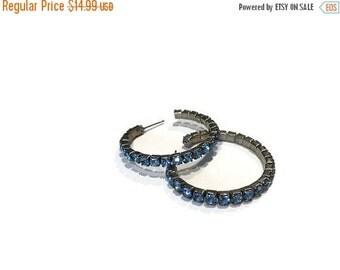 hoop earrings, blue rhinetone hoops. post earrings. vintage hoops. vintage post earrings. 1 inch hoops. blue jewelry. blue earrings.