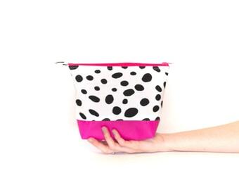 Small Cosmetics/ Make up Bag Color Block Black Spots and Hot Pink