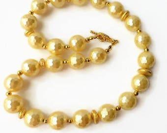 Yellow pearl strand necklace, statement necklace, shell pearl necklace, ladies necklace, special occasion jewelry, pearl neck jewelry,