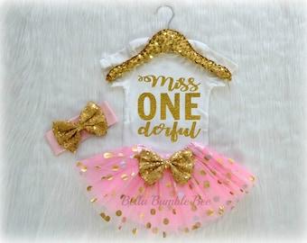 Baby Girl Miss One Derful, Wonferful Light Pink and Gold Onederful, Birthday Tutu Headband Set, Short and Long Sleeve Bodysuit Tshirt 267