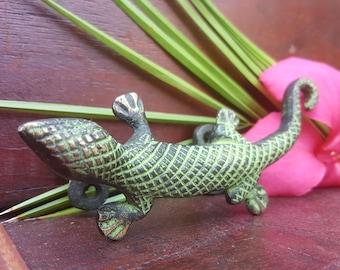 Jungle Lizard Hardware Handle Devocative Door Piece Tribal Design